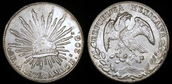 World Coins - 1872 A-AM Mexico 8 Real - Alamos Mint - UNC Silver