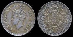 World Coins - 1940 B India (British) 1 Rupee XF