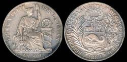 World Coins - 1884 BD Peru 1 Sol XF