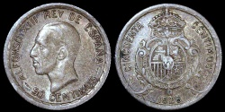 World Coins - 1926 PC-S Spain 50 Centimos - Alfonso XIII - AU