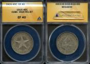 World Coins - 1915 Cuba 40 Centavos - 1st Republic - High Relief Star - ANACS XF40