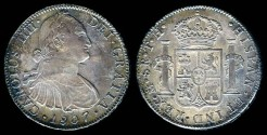 World Coins - 1807 Mo-TH Mexico 8 Reales AU