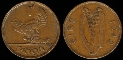 World Coins - 1942 Ireland Penny AU