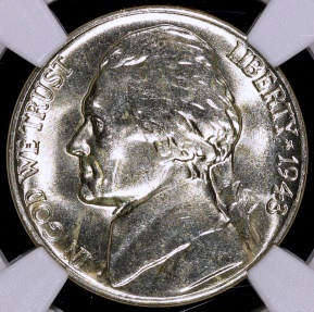 US Coins - 1943 D Jefferson Nickel (Silver) NGC MS65