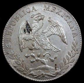 World Coins - 1893 AsML Mexico 8 Real - Alamos Mint - UNC