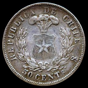 World Coins - 1872/0 Chile 50 Centavos XF