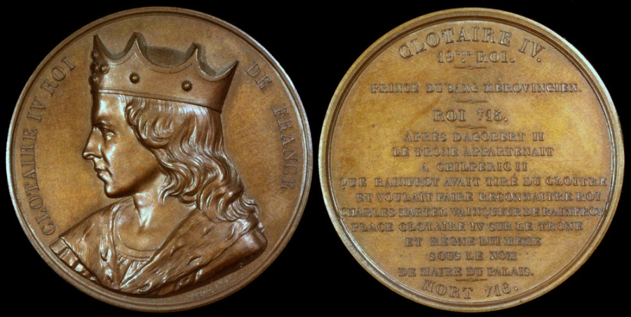 "World Coins - 1840 France - Chlothaire IV, King of Austrasia (717 - 719) by Armand-Auguste Caqué for the ""Kings of France Series"" #19"