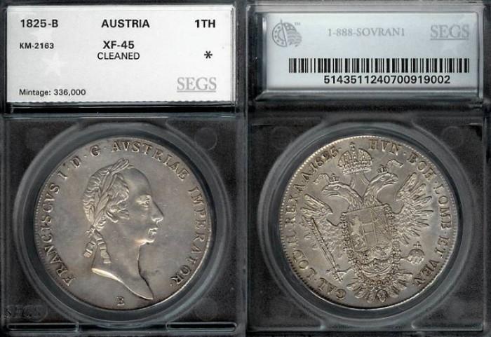 World Coins - 1825 B Austria 1 Thaler - Francis I - SEGS XF45