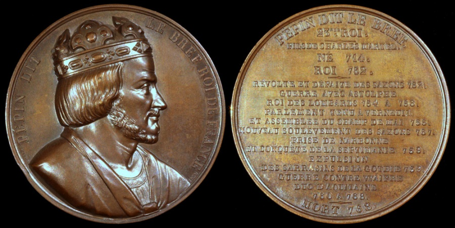 """World Coins - 1838  France - 1839 France - King Pepin """"the Younger"""" AKA Pepin the Short, King of Franks, First Carolingian King by Armand-Auguste Caqué for """"Kings of France Series"""" #23"""