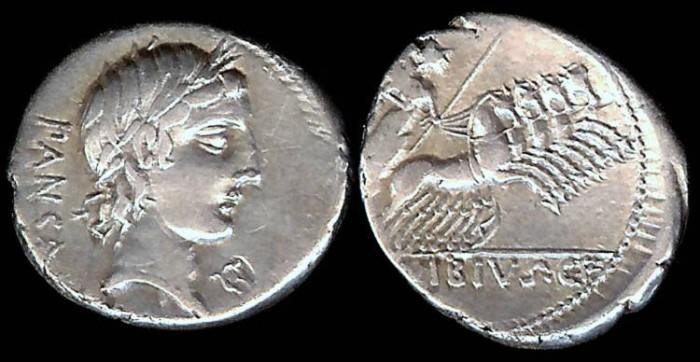 Ancient Coins - C. Vibius C.f. Pansa Denarius (90 BC)