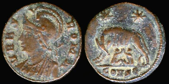 Ancient Coins - Constantine I Ae3 City Commemorative - She-Wolf with Twins - Constantinople Mint