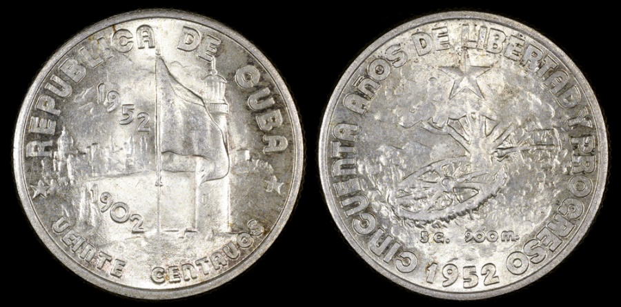 "World Coins - 1952 Cuba 20 Centavos ""50th Year of the Republic"" Silver Commemorative BU"