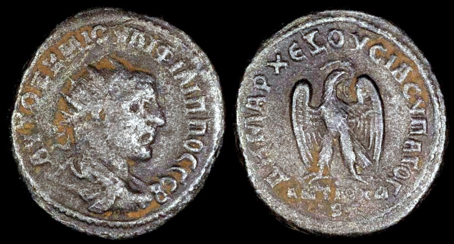 Ancient Coins - Philip I Billon - Eagle standing - Antioch Mint