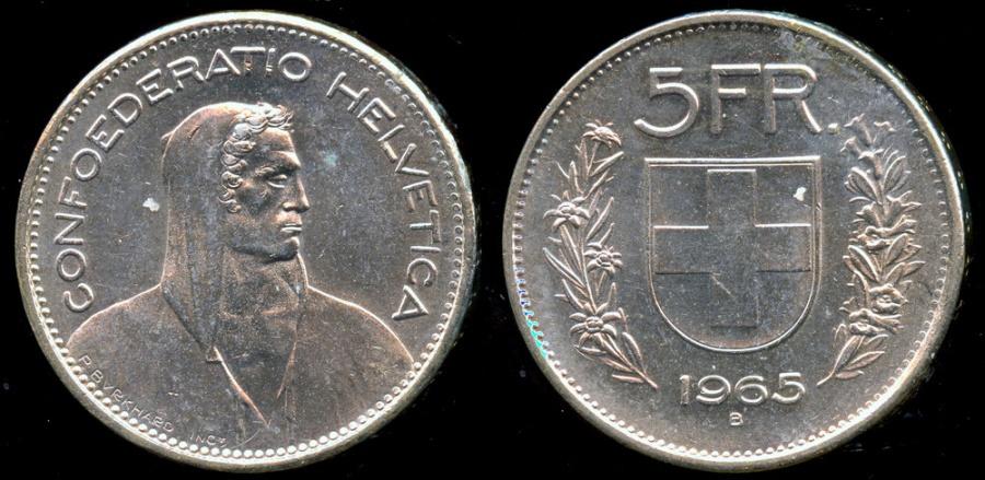 World Coins - 1965 B Switzerland 5 Francs BU