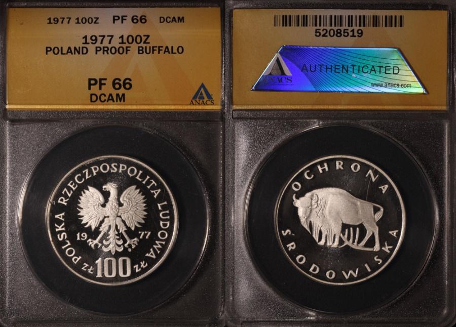 "World Coins - 1978 Poland 100 Zlotych ""Buffalo"" Silver Proof - ANACS PF66 DCAM"