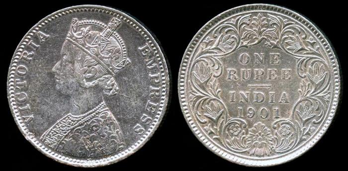 World Coins - 1901 (c) India (British) 1 Rupee AU
