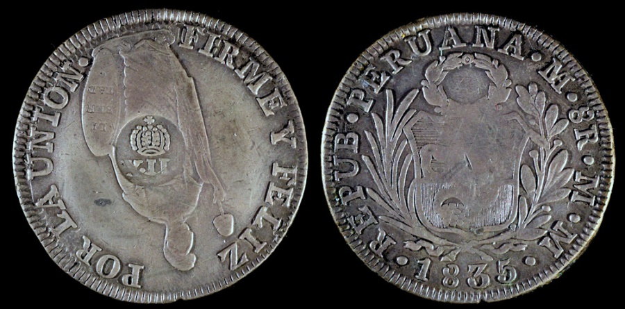 World Coins - 1834-37 Philippines Countermarked 8 Real XF