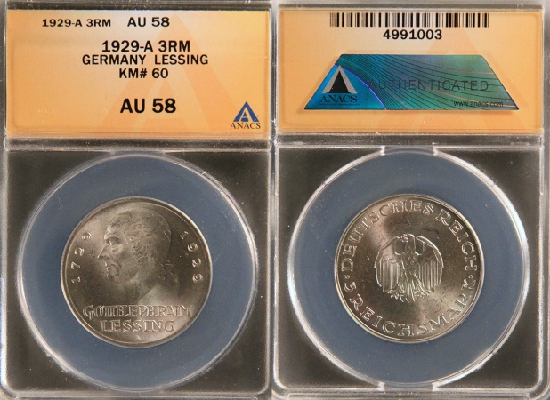 """World Coins - 1929 A Weimar Republic 3 Reichsmark """"200th Anniversary - Birth of Gotthold Lessing Commemorative Silver"""" ANACS AU58"""