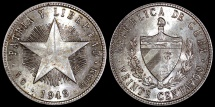 "World Coins - 1949 Cuba 20 Centavos - ""Low Relief Star"" - UNC"