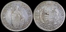 World Coins - 1830 LIMAE-JM Peru 8 Real (Standing Liberty) XF
