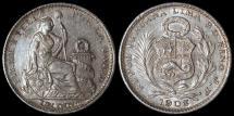 World Coins - 1903 JF Peru 1 Dinero - 1903/807 Overdate - BU