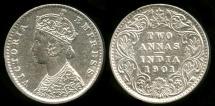 World Coins - 1901 (c) India (British) 2 Anna UNC