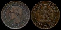 World Coins - 1853 B France 10 Centimes XF
