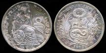 World Coins - 1917 FG Peru 1/2 Sol UNC