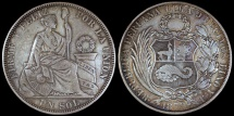 World Coins - 1879 YJ Peru 1 Sol XF