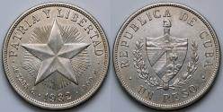 """World Coins - 1932 Cuba 1 Peso - """"Star Peso"""" - UNC Silver"""