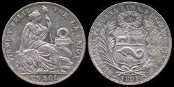 World Coins - 1891 TF Peru 1 Sol UNC