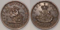 World Coins - 1857 Canada 1 Penny - Upper Canada - Penny Token - XF