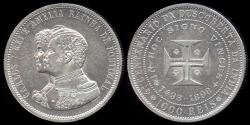 "World Coins - 1898 Portugal 1000 Reis - ""400th Anniversary of the Discovery of India"" Silver Commemorative UNC"