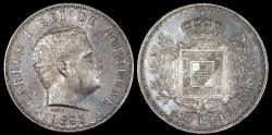 World Coins - 1893 Portugal 500 Reis - Carlos I - AU