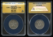 World Coins - 1915 Cuba 20 Centavos - Low Relief Fine Reeding - ANACS AU53 (Semi-Key Coin for the series)