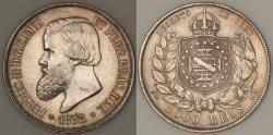 World Coins - 1888 Brazil 2000 Reis - Petrus II - AU Silver