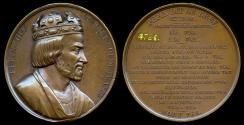 """World Coins - 1839 France - King Pepin """"the Younger"""" also known as Pepin the Short, King of the Franks, First Carolingian King by Armand-Auguste Caqué for the """"Kings of France Series"""" #23"""