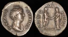 Ancient Coins - Faustina I Denarius - CONCORDIAE - Rome Mint