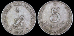 World Coins - 1900 Paraguay 5 Centavos - Republic Coinage - XF