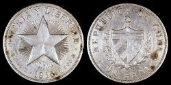 "World Coins - 1915  Cuba 1 Peso - ""Star Peso "" High Relief Star - XF Silver"