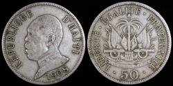 World Coins - 1908 Haiti 50 Centimes - President Pierre Nord Alexis