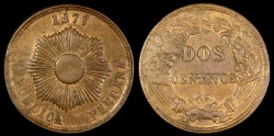 World Coins - 1877 Peru 2 Centavo AU