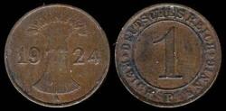 World Coins - 1924 A Weimar Republic (Germany) 1 Reichspfennig UNC