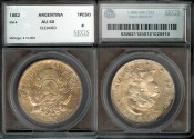 World Coins - 1882 Argentina Peso SEGS AU50