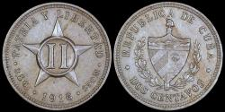 World Coins - 1916 Cuba 2 Centavo - 1st Republic - XF