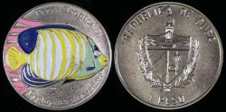 World Coins - 2005 Cuba 1 Peso - Multi-colored Pyglopites Dicanthus - Tropical Fish - BU (Tiny Mintage)