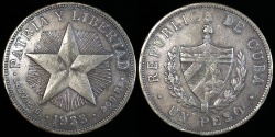 "World Coins - 1933 Cuba 1 Peso -  ""Star Peso"" - XF"