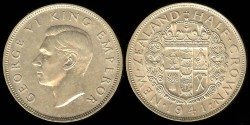 World Coins - 1941 New Zealand 1/2 Crown UNC