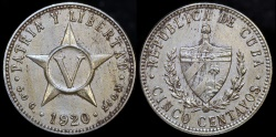 World Coins - 1920 Cuba 5 Centavos - 1st Republic - UNC