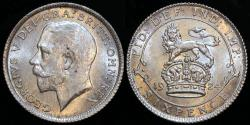 World Coins - 1924 Great Britain 6 Pence - George V - UNC
